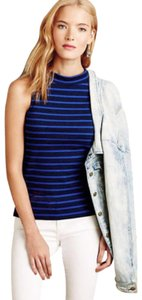 Anthropologie Striped French Inspired Stretchy Super Quality Mock Turtleneck Top Blue