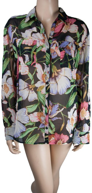 Item - Black Womens Collared Shirt Floral Sheer Hawaiian Button Button-down Top Size 6 (S)