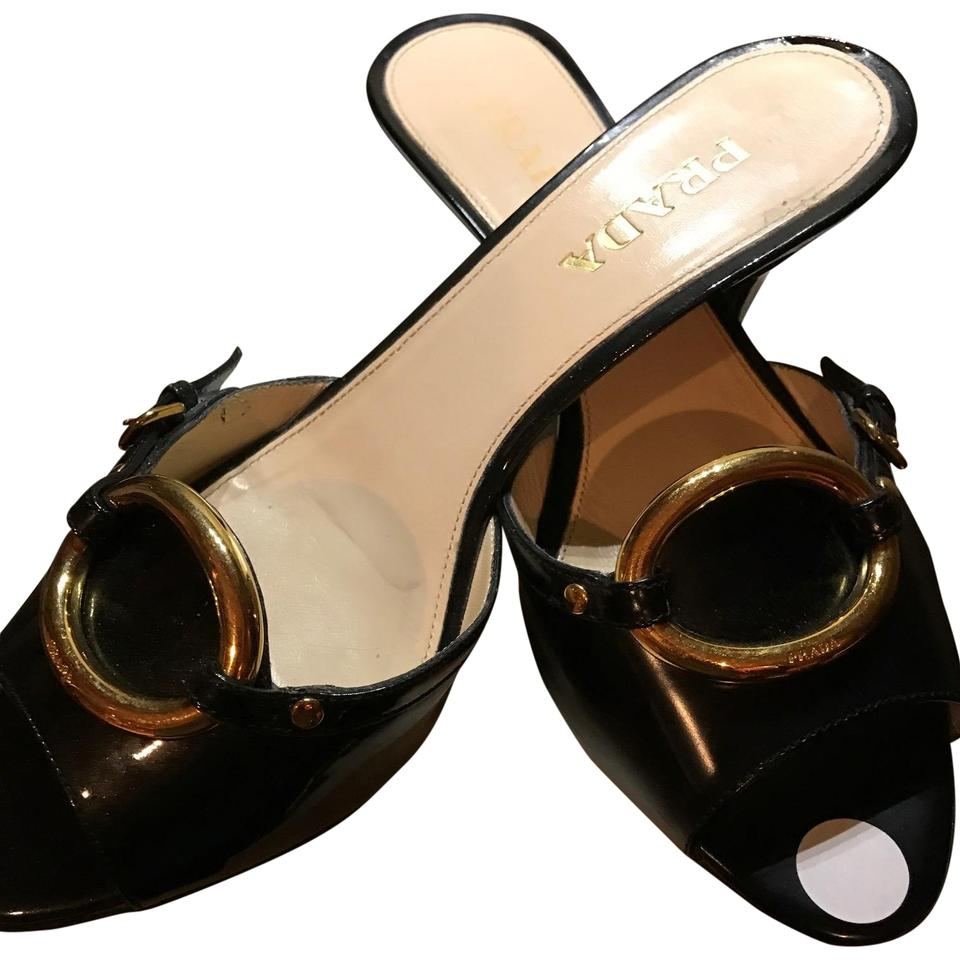 Primavera Couture Black Prada Patent Leather with Gold Signature Logo Prada Black Golden Mules/Slides 581ed9
