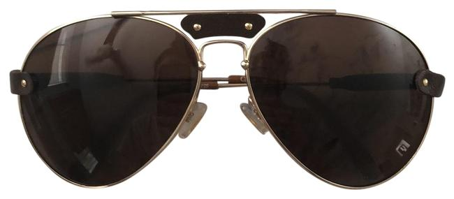 Item - Gold Brown Aviator with Leather Sunglasses