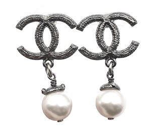 Chanel Chanel Gunmetal CC Faux Pearl Dangle Piercing Earrings