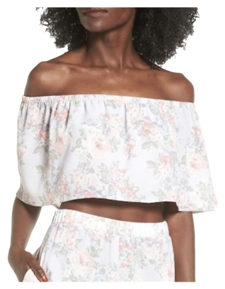 26e4fb4602df51 WAYF Off The Shoulder Crop Size Medium Floral White Top - Tradesy