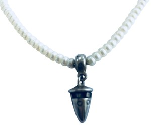 Lisa Jenks Sterling Silver Dropped Cone Pearl Necklace