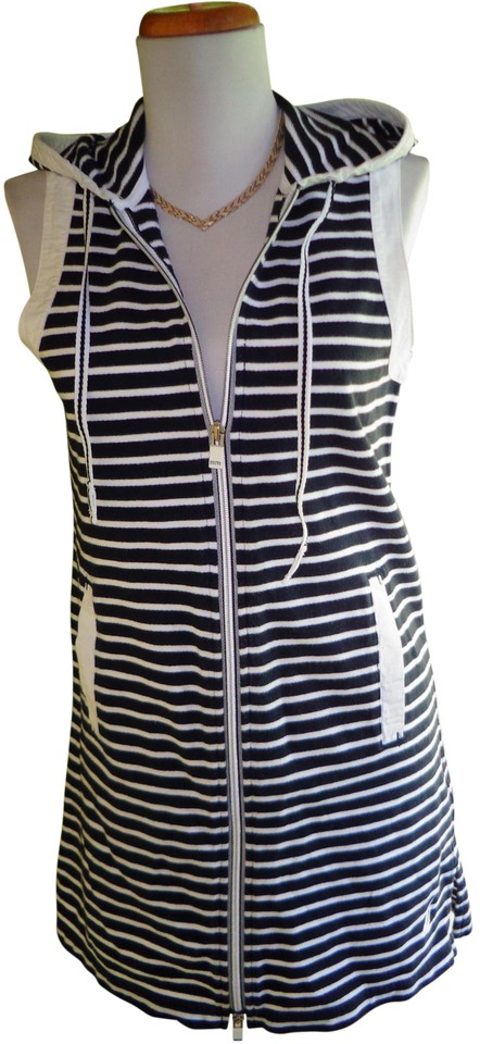 af70ab0860 Nautica Navy Blue & White Stripe Sleeveless Zip Front Cover-up Casual Dress