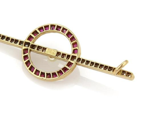Other Art Deco Rose Cut Diamond Pearl & Ruby 18k Gold Brooch Pin