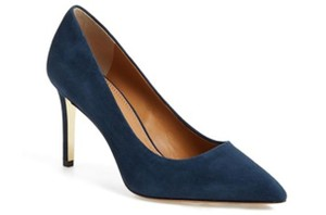 Tory Burch Suede Gold Hardware Navy Pumps