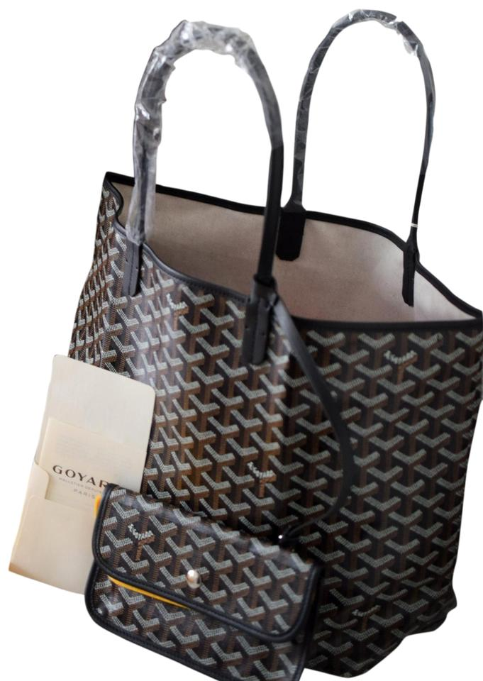 fast delivery large discount cheap Goyard Saint Louis (St. Louis) Pm Black Coated Canvas Tote - Tradesy