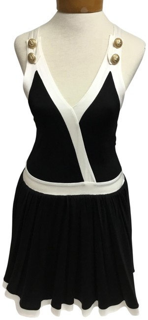 Item - Black And White Sleeveless with Gold Buttons Short Casual Dress Size 4 (S)