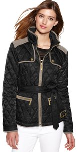 Vince Camuto Belted Quilted Faux Suede Trim Black/Taupe Jacket