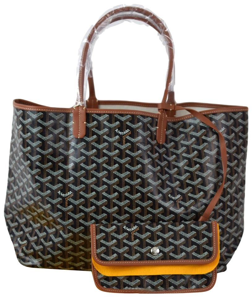 a8f4afc88d9 Goyard Saint Louis (St. Louis) Pm Black and Brown Coated Canvas Tote ...