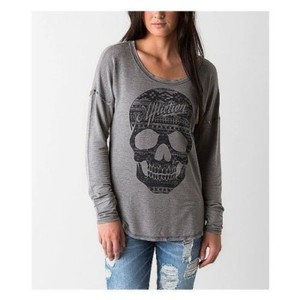 Affliction Skull Punk Goth Pullover Distressed Sweatshirt
