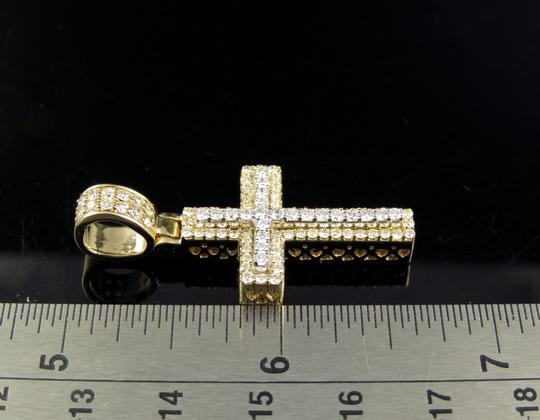 Jewelry Unlimited 10K Two Tone Gold Real Diamond Cross Pendant 1.50 CT 1.6