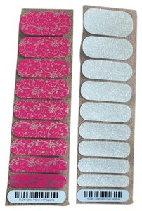 Jamberry FL06 silver floral on magenta & SE08 diamond dust sparkle