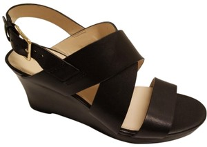 Cole Haan Leather Wedge Comfortable Slingback Black Sandals