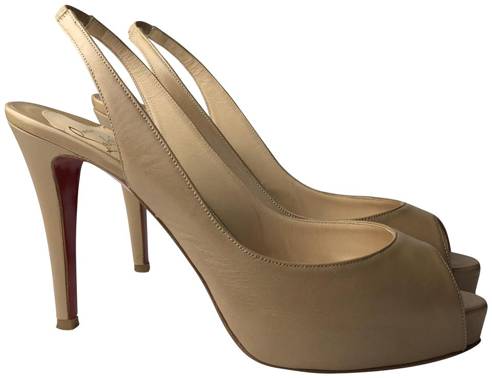 Christian Louboutin Nude Private Peep 100 Leather Peep Private Pumps db93c8