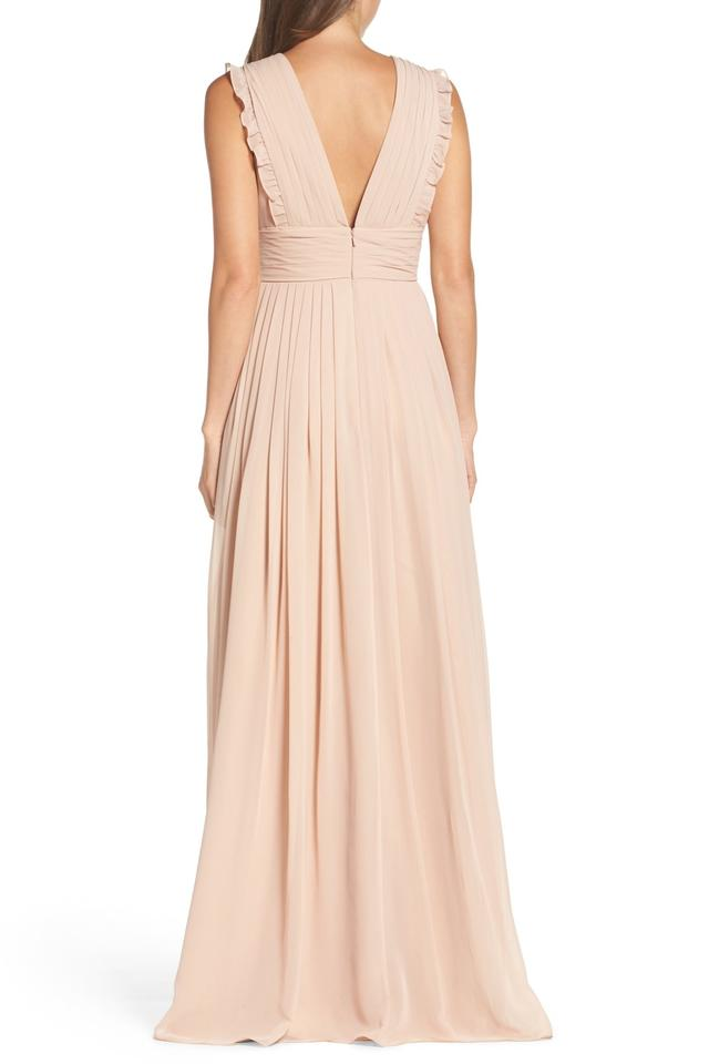 Dress Gown neck Deep Nude Ruffle Monique Bamboo Lhuillier Chiffon Formal V Pleat 1qTnPx4wg