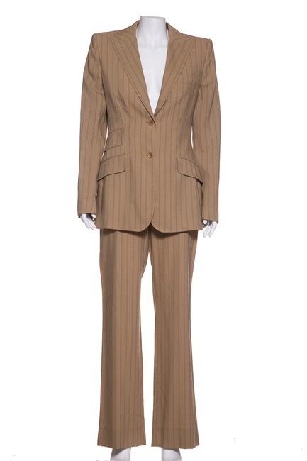 Dolce&Gabbana Dolce & Gabbana Tan Striped Pant Suit