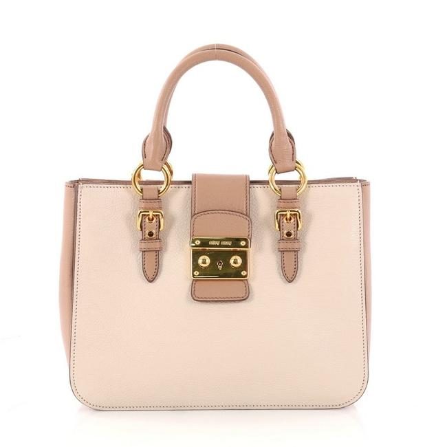 Item - Madras Convertible Small Off-white and Dusty Rose Leather Tote