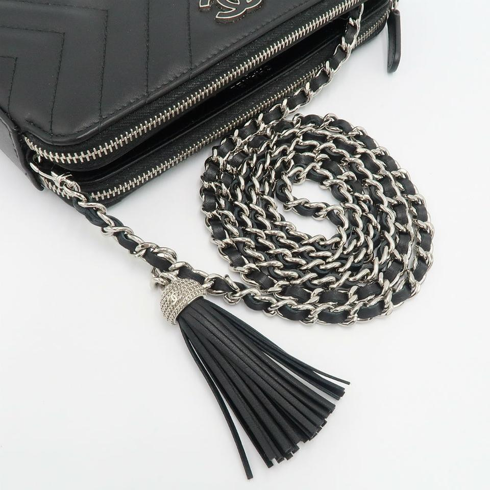 b7f4871102be Chanel Clutch Chevron Tassel with Chain Black Leather Cross Body Bag -  Tradesy