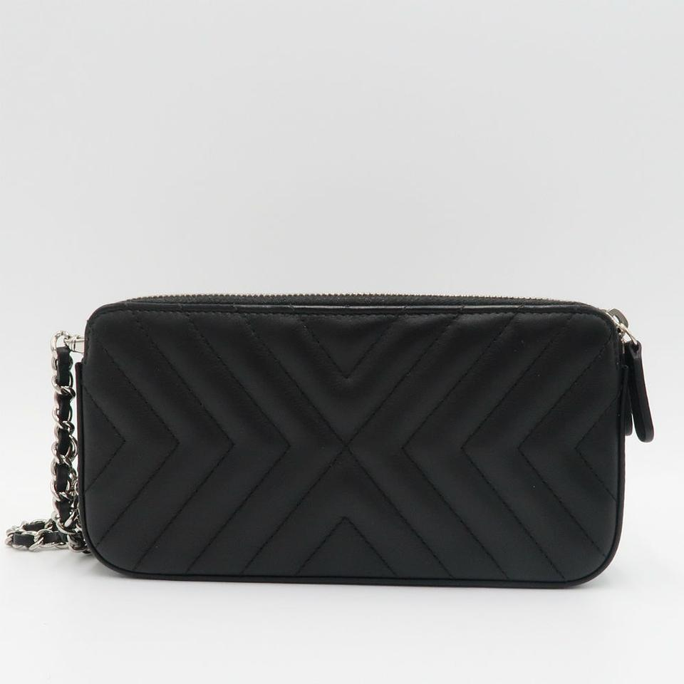 c297d2ed864c Chanel Clutch Chevron Tassel with Chain Black Leather Cross Body Bag ...