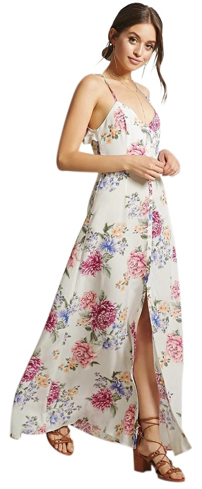aa9be07d55b Forever 21 White Floral Magenta Print Open Back Ruffle Button Front Casual Maxi  Dress