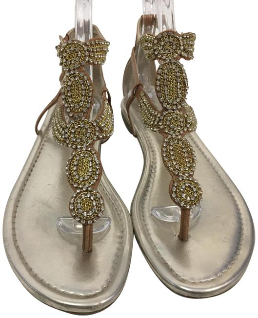 Item - Make An Offer Brown Leather T and 2 Ankle Straps Geometric Shapes Linked Gold Chain Many Glistening Stones Thong Flat Sandals Size US 8.5 Regular (M, B)