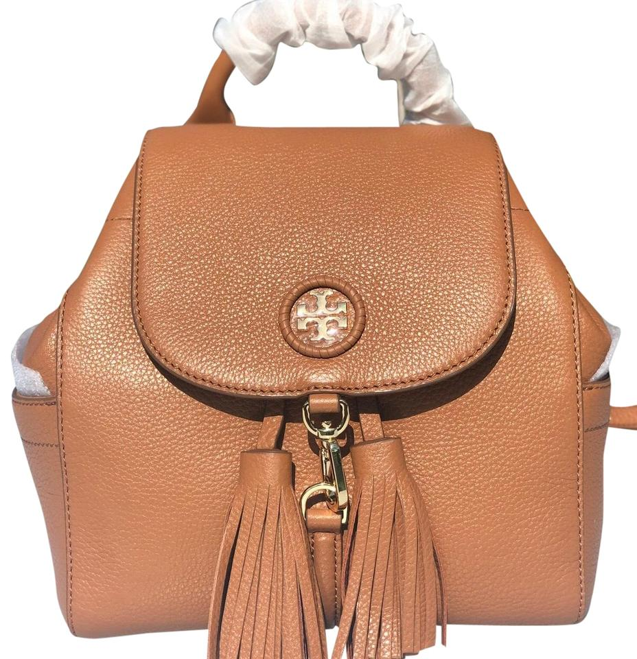 325f024c9c33 Tory Burch Whipstitch Logo Mini Backpack Bark Leather Shoulder Bag ...