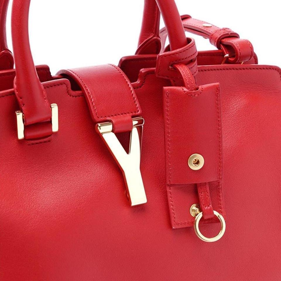 e6077b50ac Saint Laurent Cabas Y Yves Ysl Women s Classic Small Top Handle Handbag Red  Leather Shoulder Bag - Tradesy