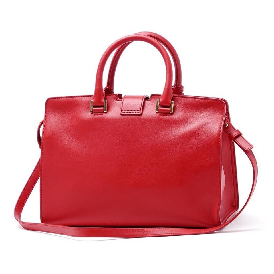 c786e3c6b3e4 Saint Laurent Cabas Y Yves Ysl Women s Classic Small Top Handle Handbag Red  Leather Shoulder Bag