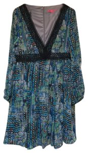 Betsey Johnson Chiffon Print V-neck Split Sleeves Zipper Dress
