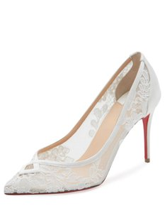 Christian Louboutin White Neoalto Lace 85mm Red Sole Pumps Size US 10 Regular (M, B)