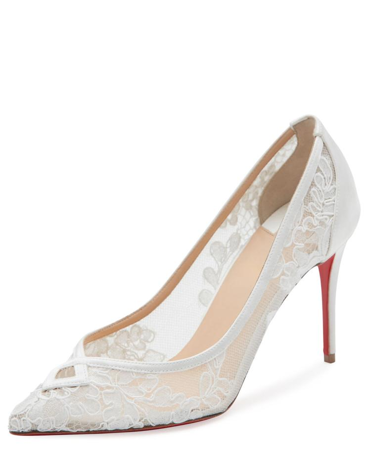 7e538c739260 Christian Louboutin White Neoalto Lace 85mm Red Sole Pumps Size US 10  Regular (M