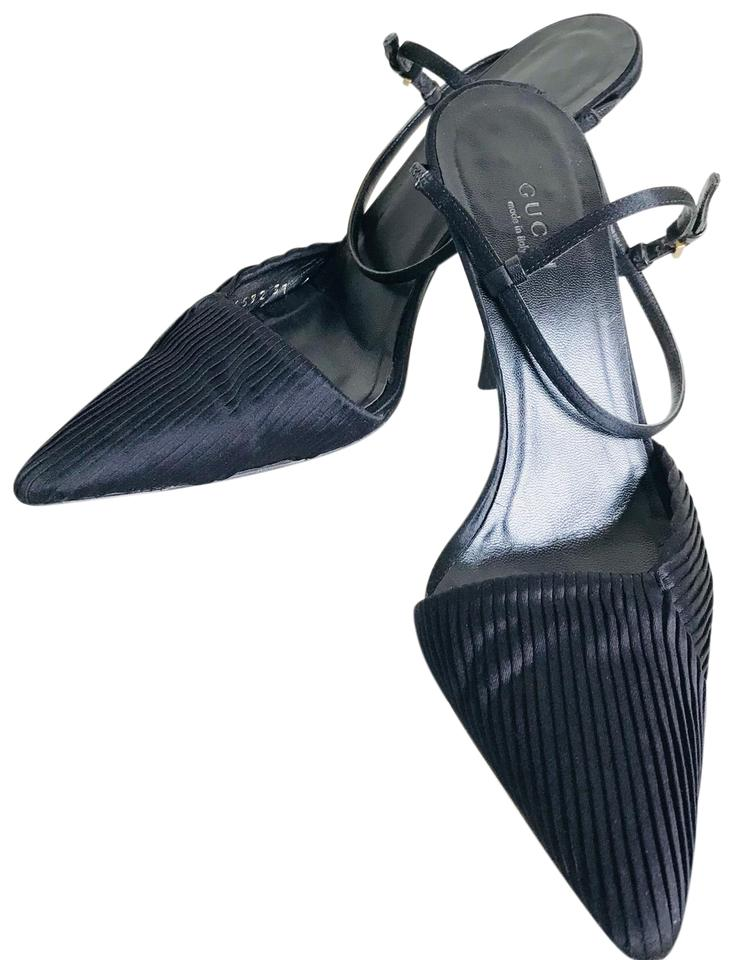 2bd95bb589a3 Gucci Black Pleated Satin Pointed Toe Ankle Strap Pumps Size US 7 ...