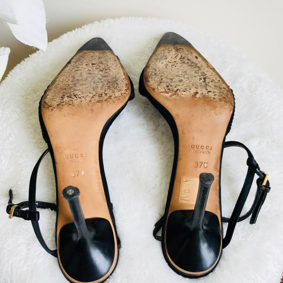 8fa27332219a Gucci Black Pleated Satin Pointed Toe Ankle Strap Pumps Size US 7 ...