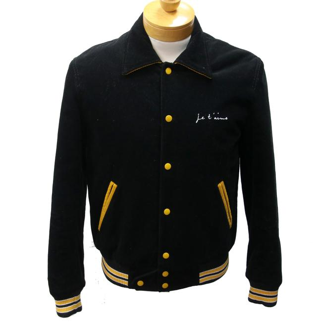 Preload https://img-static.tradesy.com/item/23711354/saint-laurent-black-and-yellow-corduroy-je-t-aime-teddy-varsity-bomber-casual-48-jacket-size-os-0-0-650-650.jpg