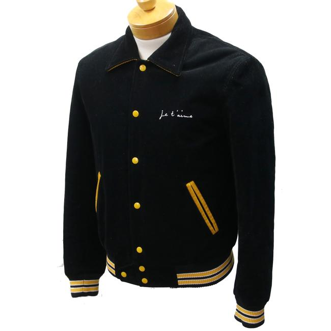 Saint Laurent Ysl Yves Letterman Streetwear Bomber Black and Yellow Jacket