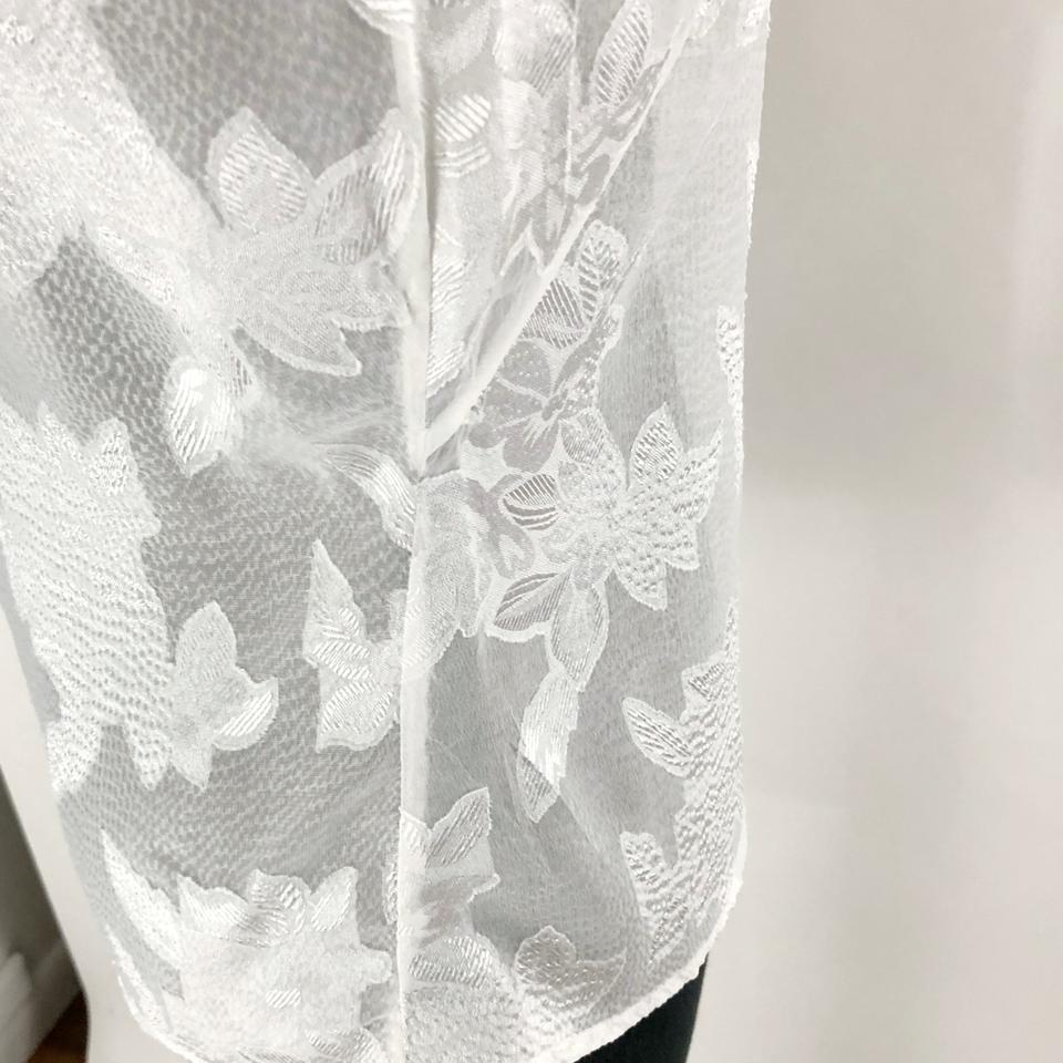 817d65064e72b Karen Millen White Floral Devore Jacquard Button Cold Shoulder Limited  Edition Blouse Size 6 (S) - Tradesy