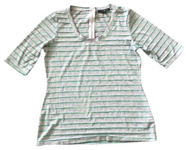 Item - Gray with Striped Polyester and Spandex Tunic Size 16 (XL, Plus 0x)