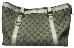 Gucci Silver Hardware Leather Canvas Tote in Beige
