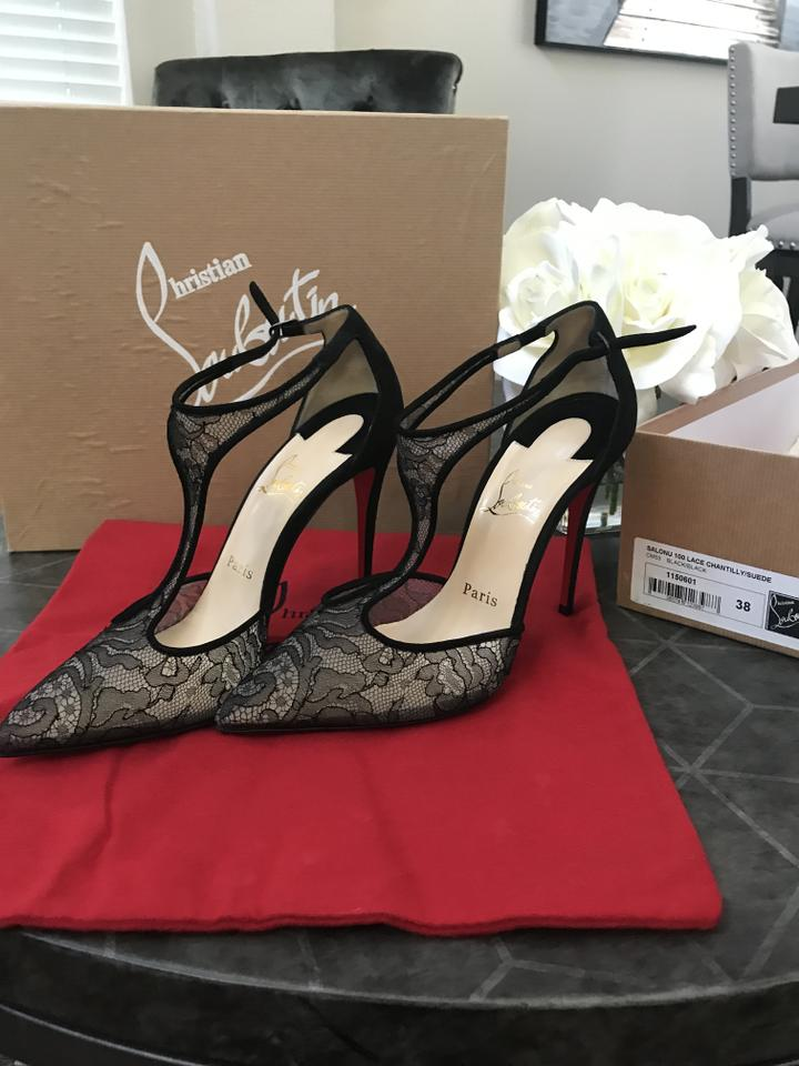 Pumps Salonu Lace strap Sole T Christian Red Louboutin Chantilly Black AxZIzZ
