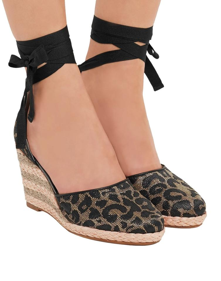 bf6ac2f0600 Sophia Webster Black Wrap Around Leopard Print Espadrille Wedges Size EU 39  (Approx. US 9) Regular (M, B) 72% off retail