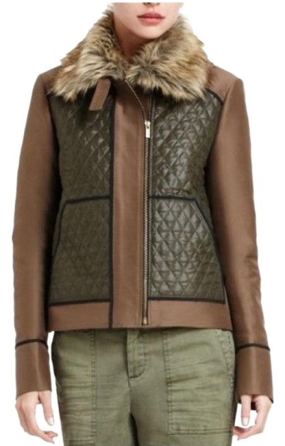 Item - Brown XS Green Aden Faux Fur Collar Boxy Quilted Zip Coat Jacket Size 2 (XS)