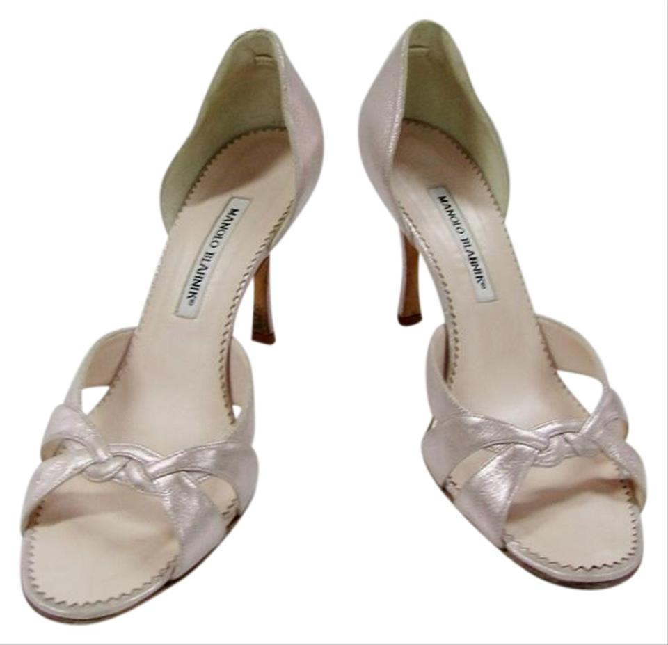 Manolo Leather Blahnik Champagne 10 Metallic Leather Manolo Sandal Strappy Pumps b7dbc7
