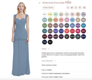 Bill Levkoff Slate Chiffon 1160 Formal Bridesmaid/Mob Dress Size 2 (XS)