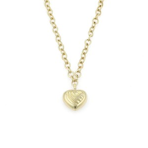 David Yurman 18k Yellow Gold Cable Style Heart Pendant & Chain Necklace