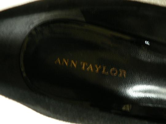 Ann Taylor Heels Peep Toe Patent Leather & Suede Black Platforms