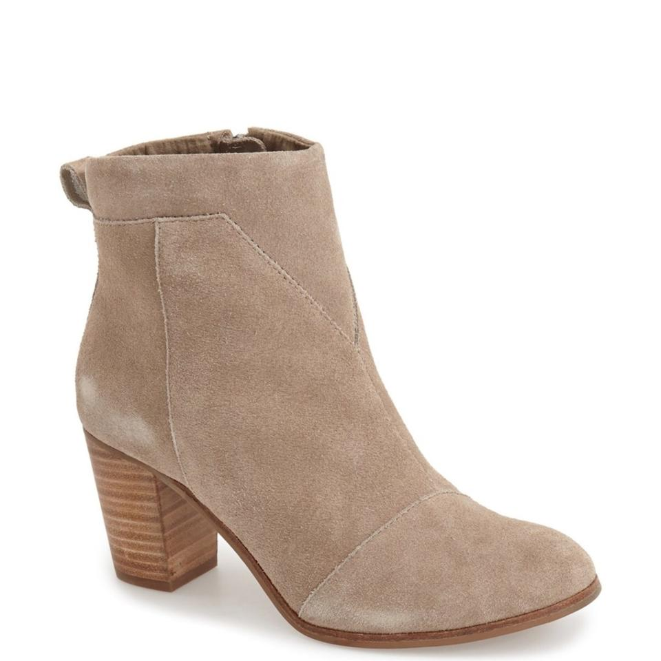 ddffaed5bea TOMS Taupe Lunata Suede Distressed Stacked Heel Ankle Boots Booties ...