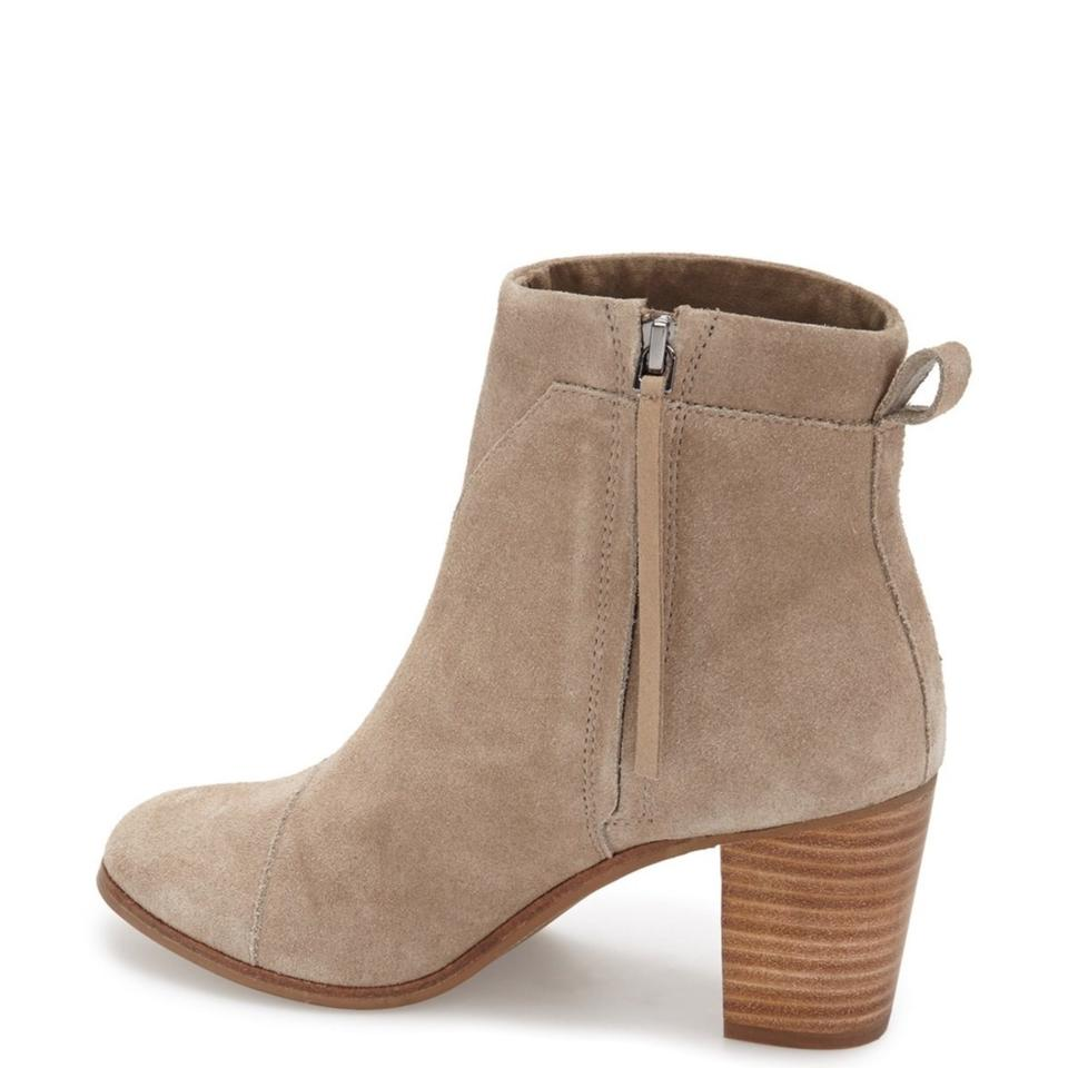740f5094004 TOMS Taupe Lunata Suede Distressed Stacked Heel Ankle Boots Booties ...