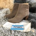 TOMS Taupe Lunata Suede Distressed Stacked Heel Ankle Boots/Booties Size US 12 Regular (M, B) TOMS Taupe Lunata Suede Distressed Stacked Heel Ankle Boots/Booties Size US 12 Regular (M, B) Image 6
