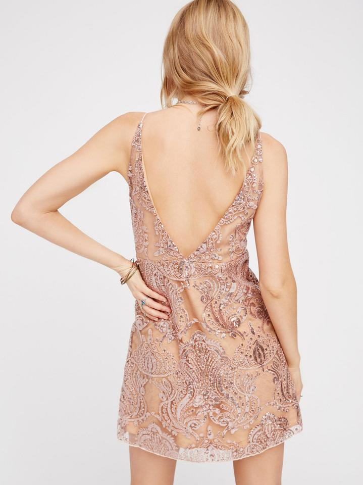 968508839173 Free People Nude & Gold Night Shimmers Mini Short Cocktail Dress ...